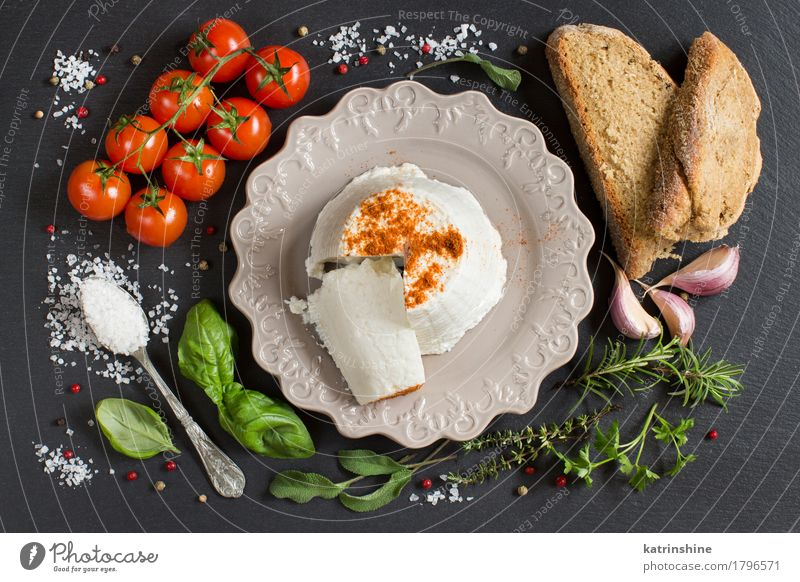 Italian ricotta cheese, homemade bread, vegetables and herbs Food Cheese Vegetable Bread Herbs and spices Nutrition Diet Italian Food Plate Spoon Dark Fresh