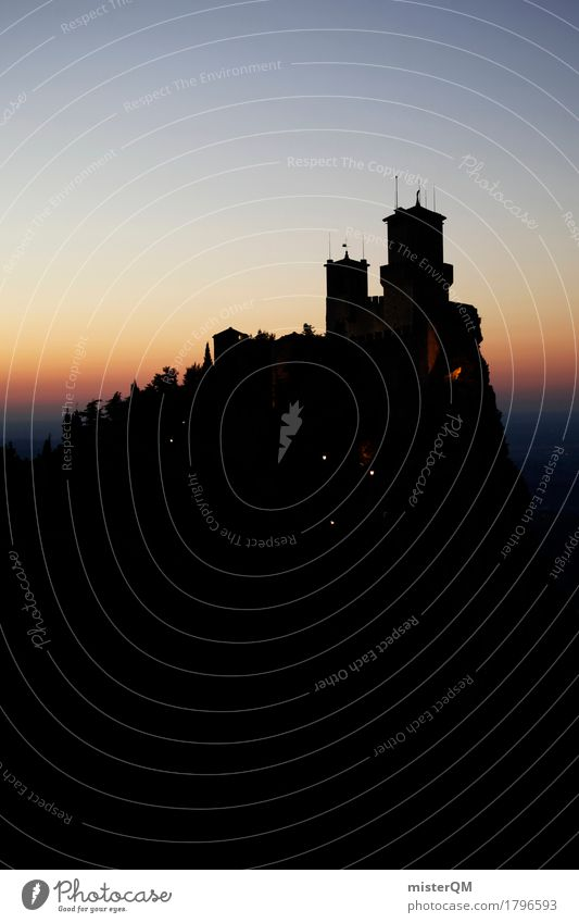 Into the dark... Art Esthetic San Marino Italy Night Dark Silhouette Castle Castle ruin Castle tower Castle palace Tower Defensive Old Historic