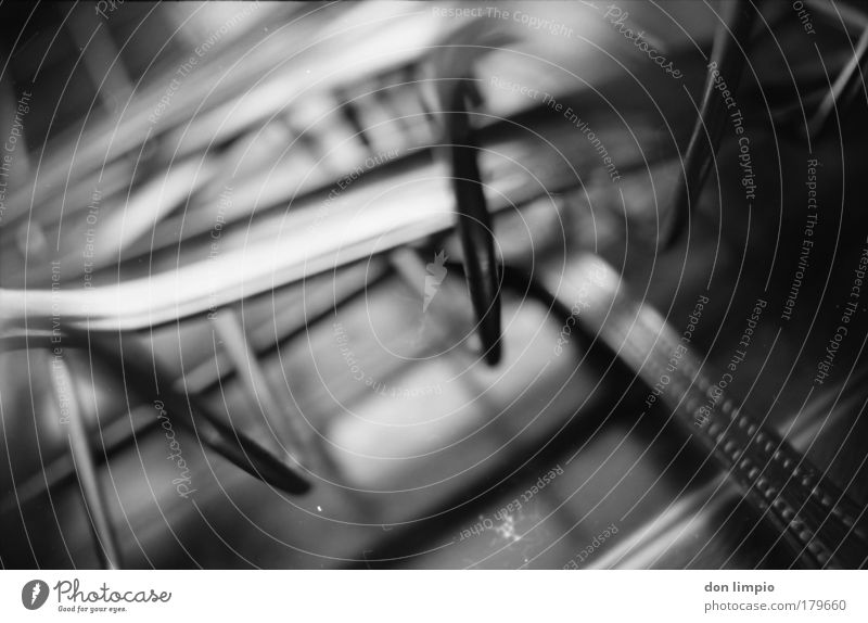 cutlery basket Black & white photo Macro (Extreme close-up) Abstract Shadow Low-key Blur Shallow depth of field Central perspective Cutlery Fork Kitchen