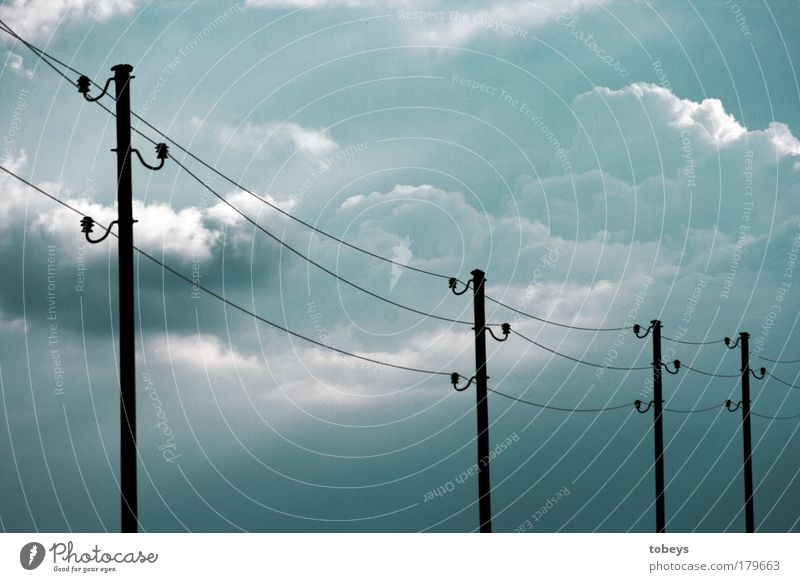 Blue Clouds Environment Climate Energy industry Growth Future Electricity Telecommunications Change Technology Cable Electricity pylon Thunder and lightning