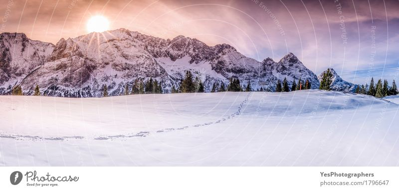 Mountain peaks with footsteps on snow Sky Nature Vacation & Travel Colour White Sun Landscape Winter Mountain Lanes & trails Snow Tourism Horizon Ice Idyll Europe