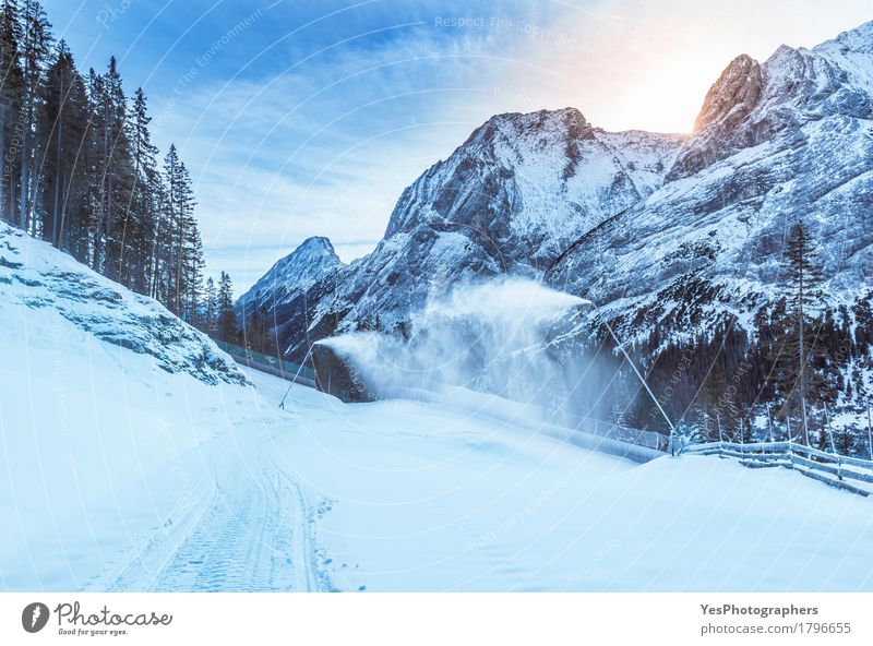 Mountain winter with snow cannons Vacation & Travel Blue White Tree Landscape Joy Winter Forest Cold Natural Snow Wild Weather Fresh Hiking