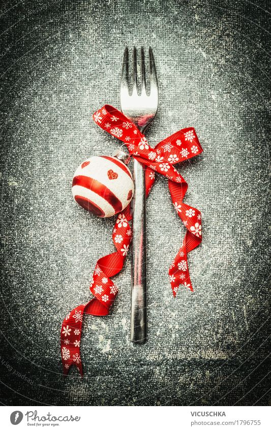Fork with Christmas decoration Nutrition Banquet Crockery Style Design Winter Decoration Table Party Event Restaurant Feasts & Celebrations Christmas & Advent