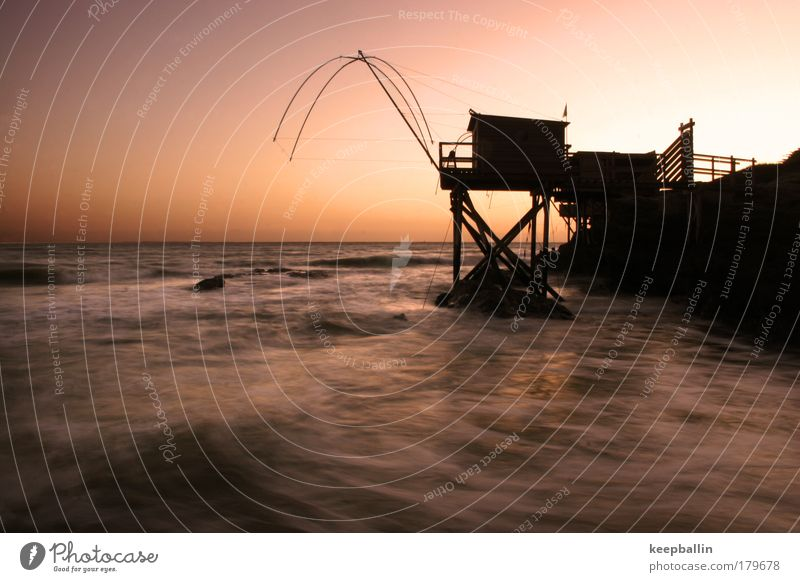 when the water gets soft Colour photo Exterior shot Twilight Long exposure Long shot Vacation & Travel Summer vacation Ocean Water Cloudless sky Horizon Waves