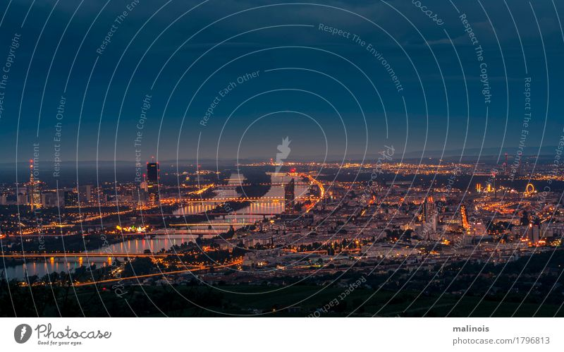Vienna at night Tourist Attraction Horizon Light and shadow blue hour Long exposure Colour photo Detail Twilight Night Deep depth of field Wide angle