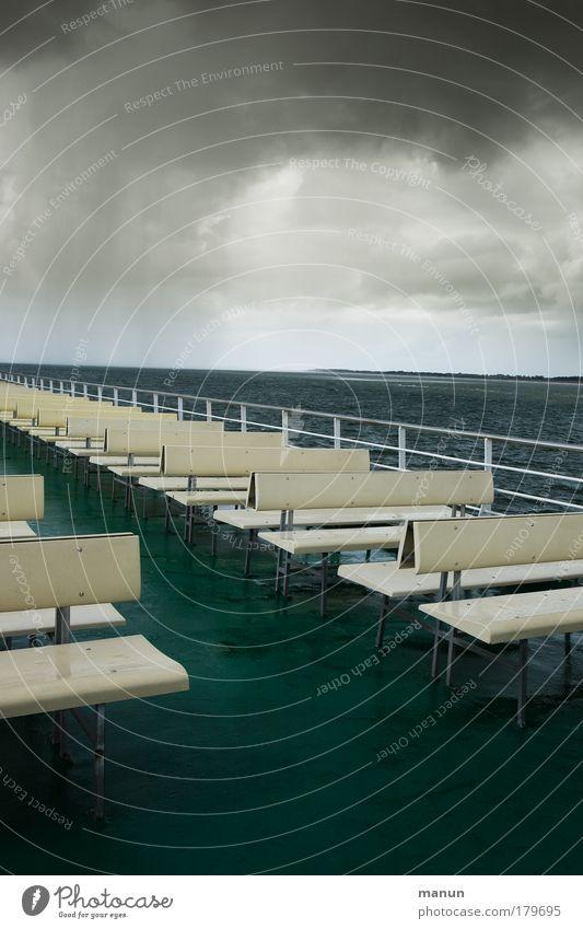 Water Ocean Summer Vacation & Travel Calm Clouds Dark Autumn Rain Coast Wind Trip Tourism Bench Threat Climate