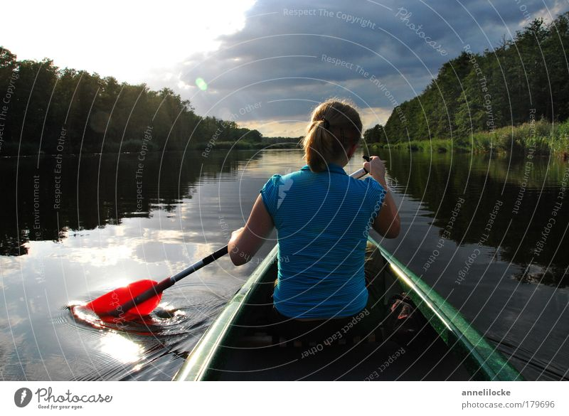 Woman Youth (Young adults) Water Summer Vacation & Travel Calm Clouds Forest Lake Landscape Watercraft Adults Reflection Back Trip
