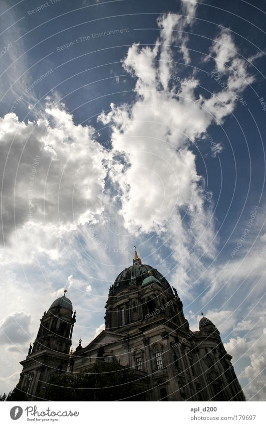 Old Blue White Berlin Gray Power Esthetic Church Illuminate Landmark Dome Tourist Attraction Capital city Berlin Cathedral