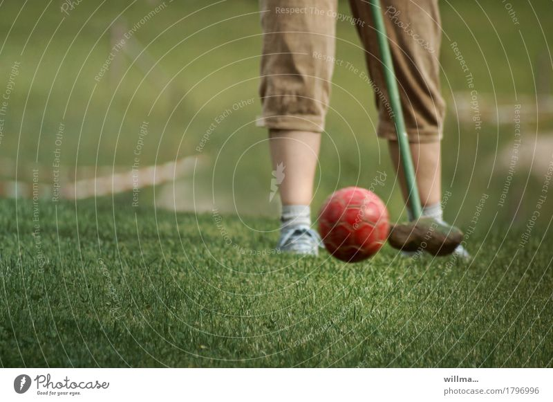 farmer's golf Leisure and hobbies country golf Golf course Golfer Golf club Mini golf Knickerbocker Playing Sports Grass surface Aim Golf swing Colour photo