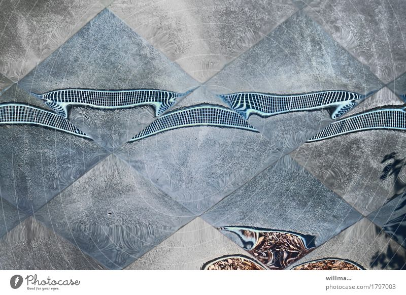 Mirror Tile Irritation Surrealism False Fantasy Mirror image Distorted Drugs rush Gray-blue