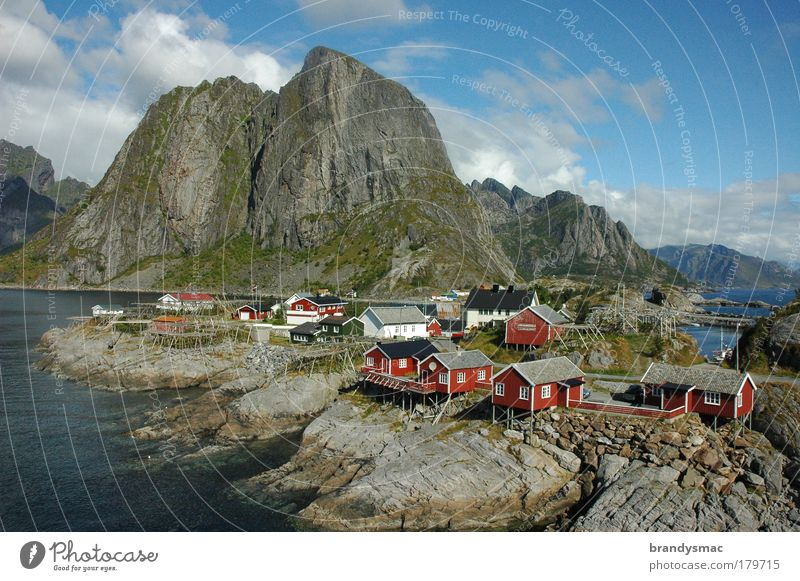 "Lofoten - the place ""Hamnoy"" Colour photo Exterior shot Deserted Morning Day Light Sunlight Bird's-eye view Nature Landscape Rock Fjord Island Village"