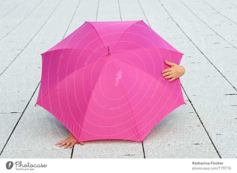 Surprise Surprise Hand 1 Human being Summer Stone Concrete Pink White Umbrella Sunshade Asphalt Comical Hide Weather Hiding place Art Protection Places Street