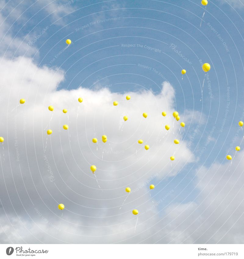 Sky Sun Blue Clouds Yellow Weather Flying Balloon Nature Ascending Hover Blow Helium Similar