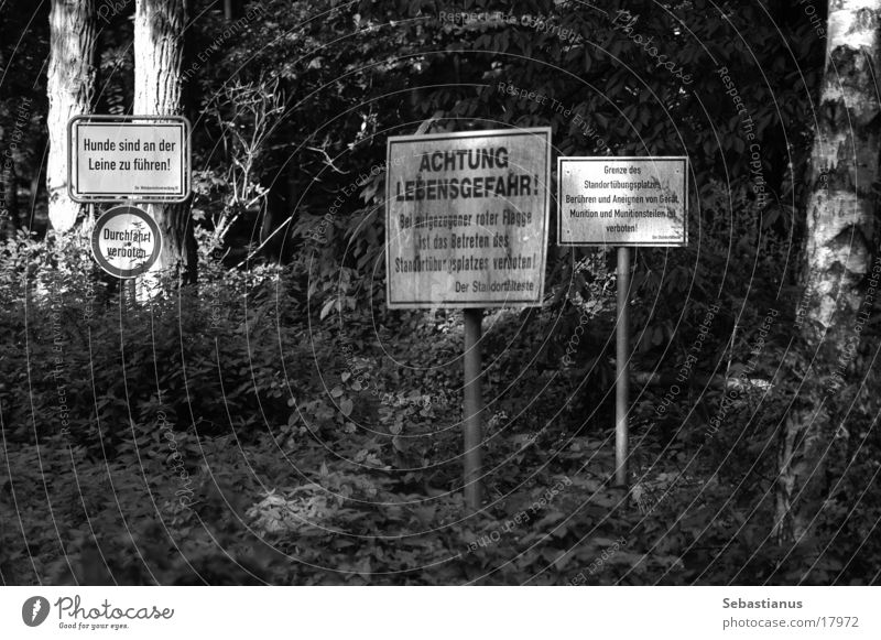 Forest Signs and labeling Obscure Soldier Respect Danger of Life Federal armed forces