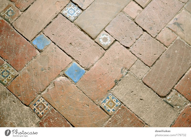 Tiled ancient floor White Blue Yellow Brown Room Gold Floor covering Brick Pavement Old building Mediterranean Stone Ornaments Cobbled pathway