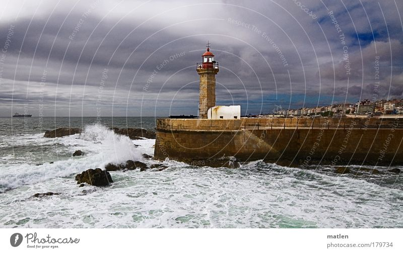 change in the weather Air Water Sky Clouds Horizon Summer Weather Beautiful weather Bad weather Storm Gale Waves Coast Ocean Atlantic Ocean Lighthouse Logistics