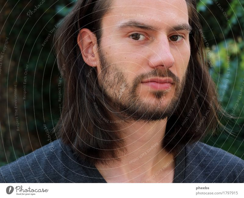 in the forest of thought Man Boy (child) Guy Face Portrait photograph Facial hair Hair and hairstyles Exterior shot Nature Green Lips Nose Eyes Ear