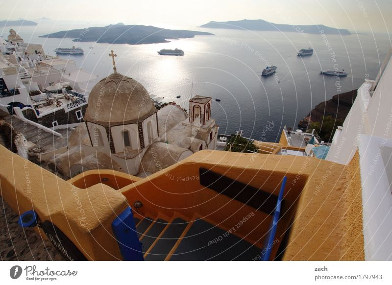 with overview Sky Beautiful weather Ocean Mediterranean sea Aegean Sea Island Cyclades Santorini Caldera Watercraft Cruise liner Thira Greece Small Town