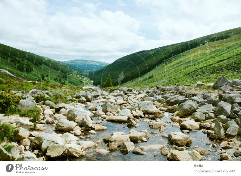 Nature Landscape Environment Natural Stone Rock Perspective River Hill Canyon Brook Downward Valley Ireland Gravel Mountain stream