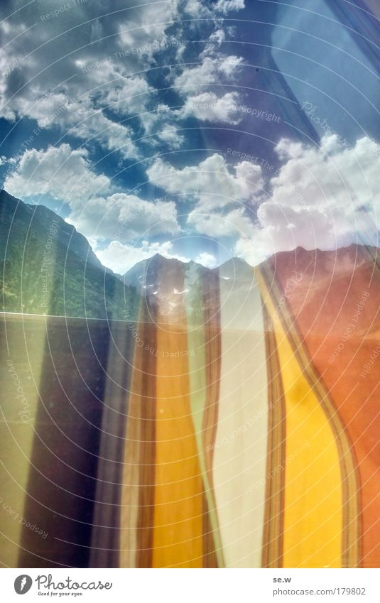 Upward striving Colour photo Experimental Copy Space top Copy Space bottom Silhouette Reflection Light (Natural Phenomenon) Environment Earth Air Clouds Summer