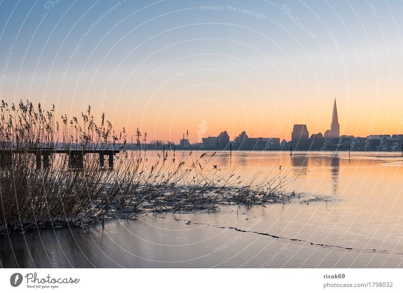 View over the Warnow to Rostock in winter Vacation & Travel Tourism Winter Nature Landscape Water Weather River bank Town Building Architecture