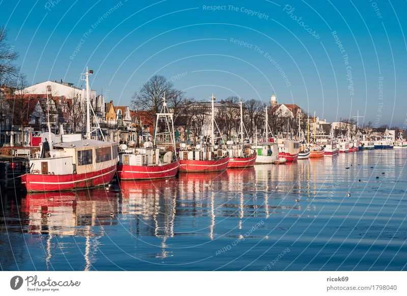 Fishing boats on the old river in Warnemünde Vacation & Travel Tourism Ocean Winter Nature Landscape Water Cloudless sky Coast Architecture Tourist Attraction