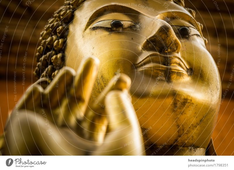 Golden Buddha Happy Wellness Well-being Head Hand Fingers Art Sculpture Esthetic Goodness Attentive Truth Purity Religion and faith Buddhism Meditation mudra