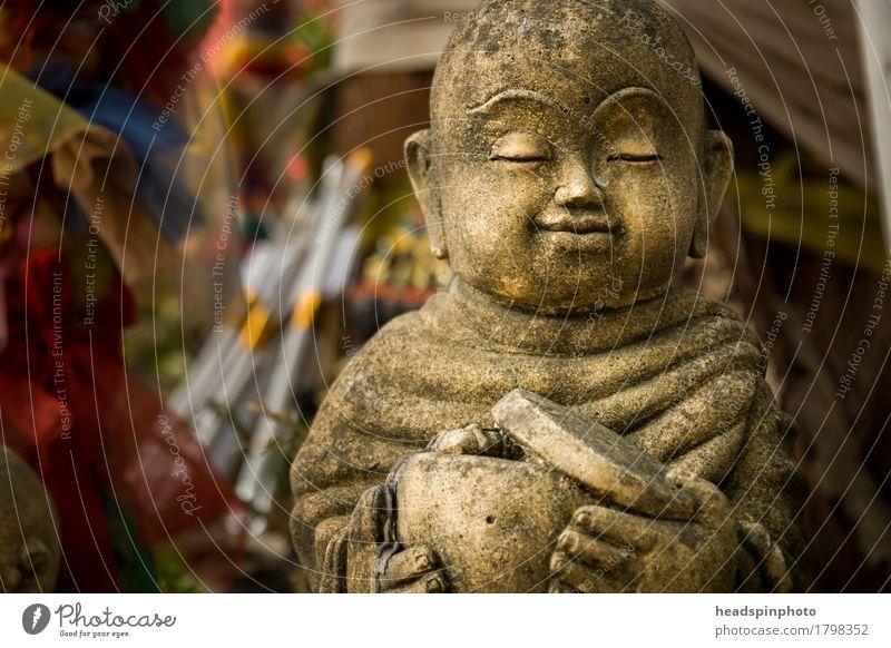 Vacation & Travel Calm Religion and faith Stone Tourism Meditation Statue Prayer Thailand Attentive Weathered Temple Buddha Buddhism Monk Panhandler