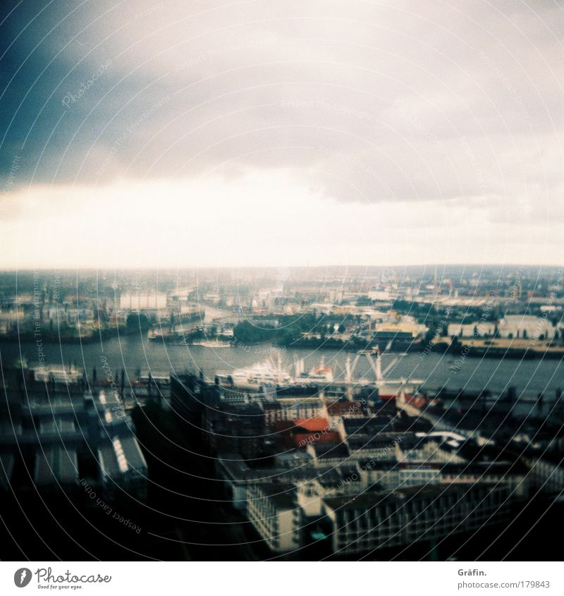 It was just too windy... Colour photo Exterior shot Lomography Copy Space top Day Low-key Bird's-eye view Clouds Bad weather Wind Rain Hamburg Port City Skyline