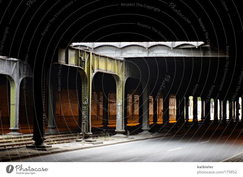 Old City Black Street Dark Gray Bridge Gloomy Logistics Railroad tracks Tunnel Traffic infrastructure Leipzig Column