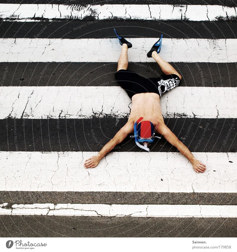 dry float Colour photo Subdued colour Exterior shot Day Full-length Masculine Man Adults 1 Human being Transport Traffic infrastructure Street Zebra crossing