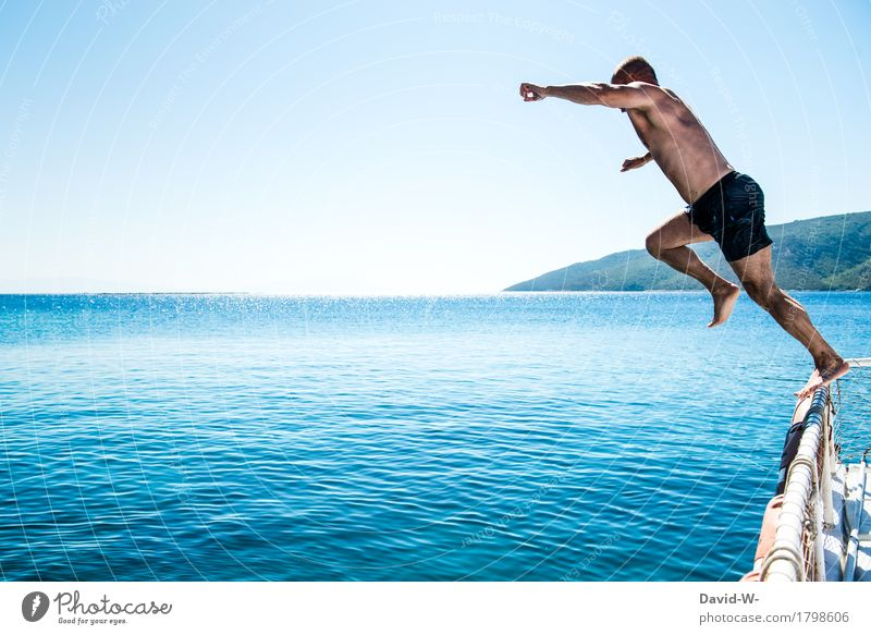 Human being Vacation & Travel Youth (Young adults) Man Blue Summer Water Young man Ocean Eroticism Joy Adults Life Healthy Exceptional Swimming & Bathing