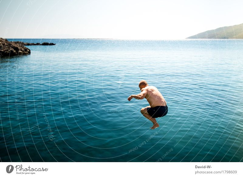 Human being Vacation & Travel Man Summer Healthy Eating Water Ocean Joy Far-off places Adults Life Happy Freedom Swimming & Bathing Jump