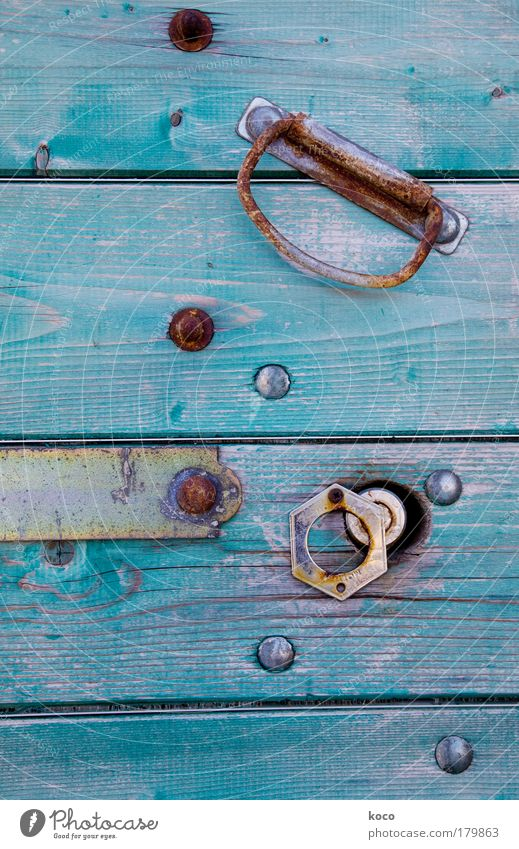YAMANGA Colour photo Detail Deserted Village Old town House (Residential Structure) Door Wood Metal Steel Rust Esthetic Blue Gold Green Day