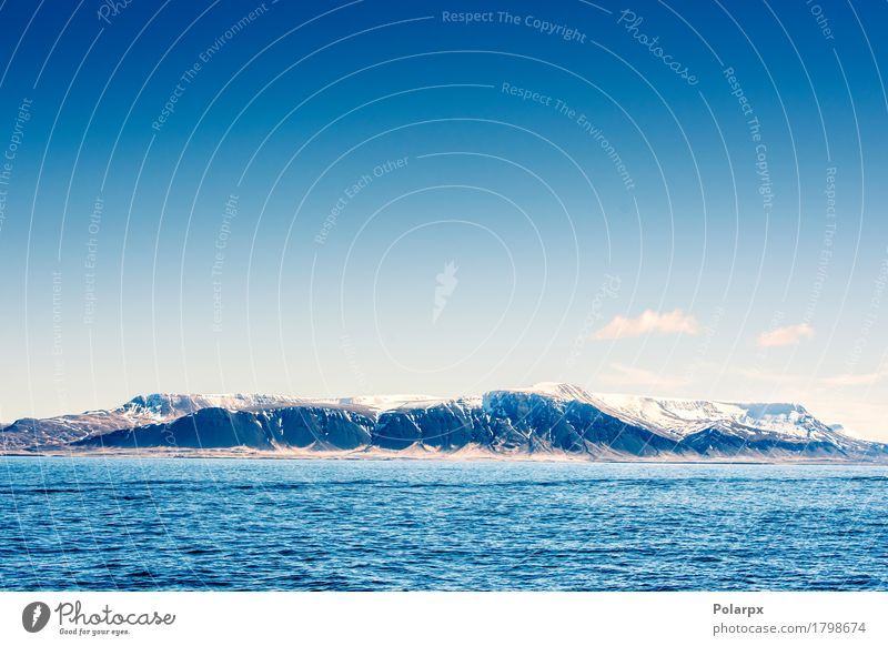 Snow on mountains in the blue ocean Life Vacation & Travel Tourism Ocean Waves Mountain Environment Nature Landscape Sky Clouds Climate Weather Hill Coast Fjord