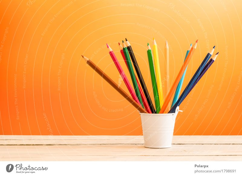Color pencils in a white bucket Blue Colour Green White Red Black Yellow Wood Art Group Brown Pink Design Work and employment Bright Leisure and hobbies