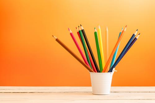 Color pencils in a white bucket Design Leisure and hobbies Work and employment Office Craft (trade) Tool Group Art Container Pen Wood Draw Write Bright Blue