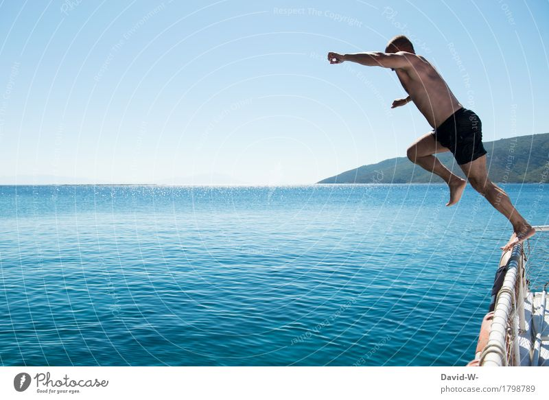 Human being Vacation & Travel Youth (Young adults) Man Summer Sun Young man Ocean Joy Far-off places Adults Life Senior citizen Happy Tourism Jump