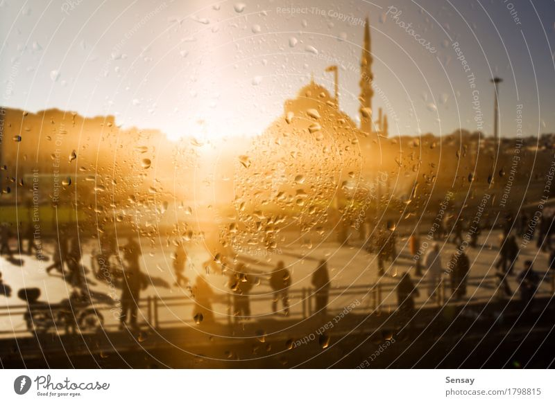 the mosque is reflected in the window. Landscape Rain Town Building Drop Yellow Islam the religion the sun East Asia turkey Istanbul Jetty promenade Ray