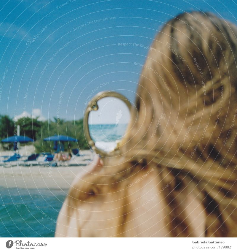 Human being Water Blue Summer Beach Feminine Emotions Hair and hairstyles Head Sand Brown Skin Glittering Observe Mirror Infinity