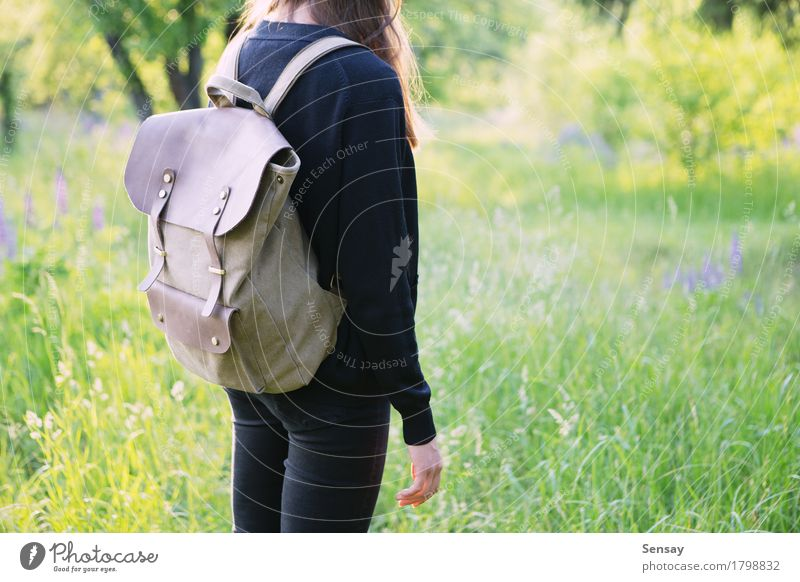 Young woman hiking in the park with backpack Happy Beautiful Trip Summer Sun Hiking School Human being Girl Woman Adults Youth (Young adults) Nature Park Street