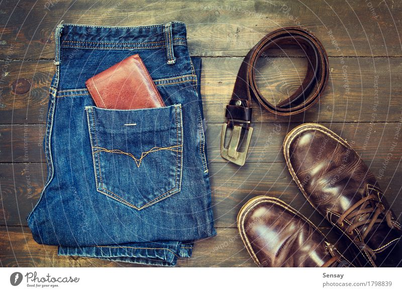 Jeans, belt , shoes and wallet Vacation & Travel Man Old Blue Colour Adults Style Wood Business Fashion Brown Design Retro Footwear Clothing