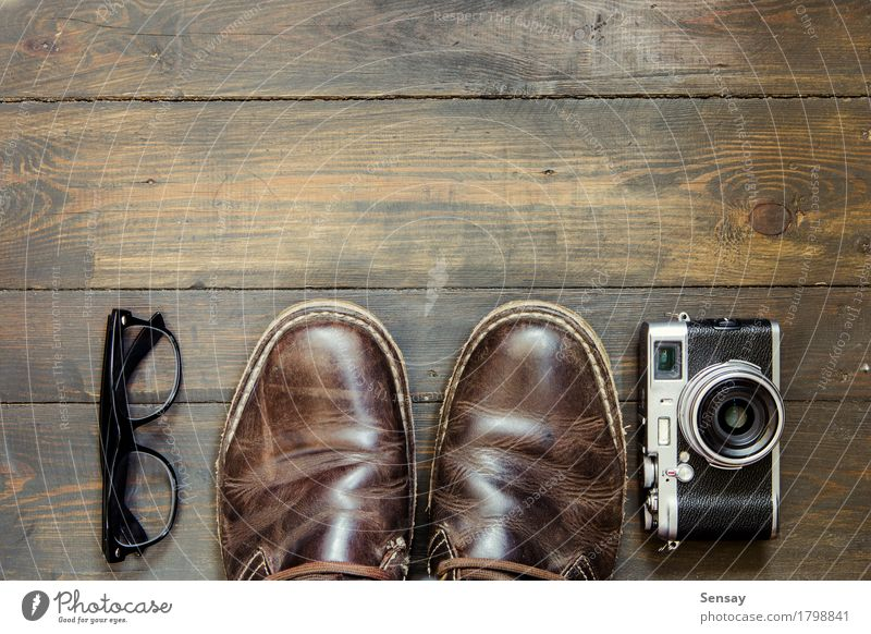 set of cool stuff on wooden background Style Design Life Vacation & Travel Tourism Wallpaper Camera Man Adults Fashion Clothing Leather Accessory Footwear Boots