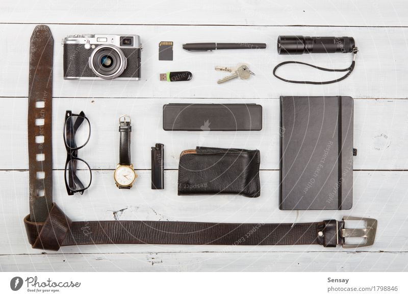 tourism concept - set of cool stuff with camera Lifestyle Vacation & Travel Tourism Trip Summer Camera Leather Accessory Sunglasses Pack Pen Wood Observe Modern