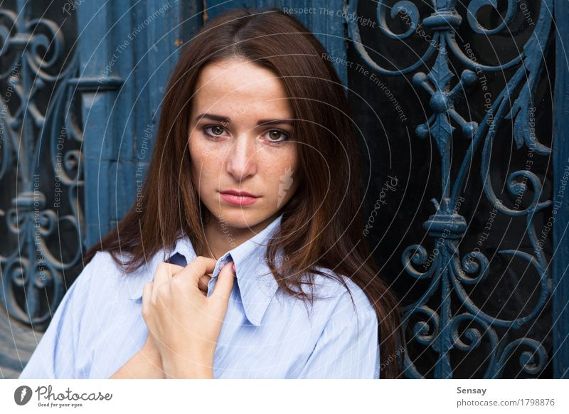 Girl in depression on blue background Beautiful Face Child Human being Woman Adults Youth (Young adults) Hair Sadness Dark Long Cute Black White Emotions