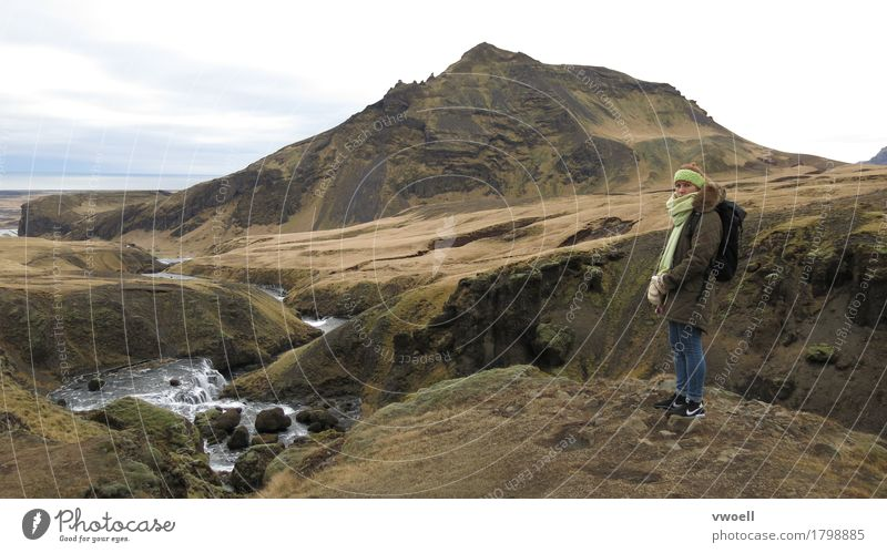Iceland Hiking Human being Feminine 1 Nature Landscape Autumn Weather Bad weather Moss Hill Rock Mountain Volcano Island River Breathe Observe Looking