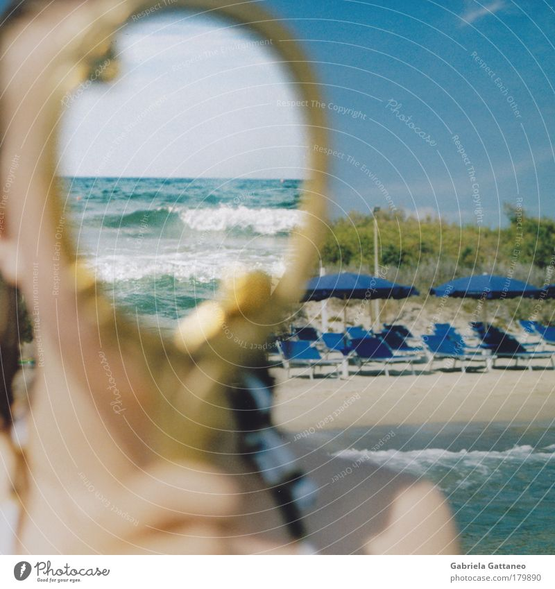 Sky Water Hand Blue Beach Feminine Head Sand Coast Moody Air Reflection Waves Skin Horizon Wet