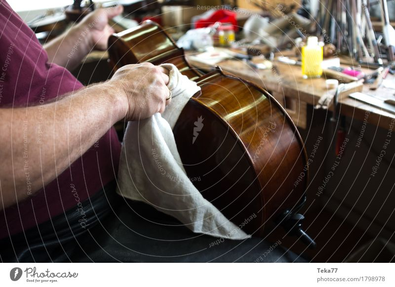 Violin making IIIIIII Style Music Profession Craftsperson violin maker Workplace Human being Hand Esthetic Music industry Musical instrument Colour photo