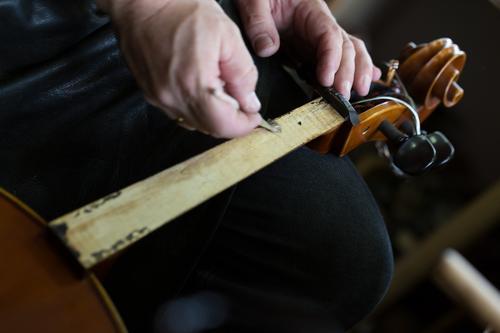 Violin making I Style Music Profession Craftsperson Workplace Human being Hand Art Artist Beginning Esthetic violin making violin maker Colour photo Studio shot