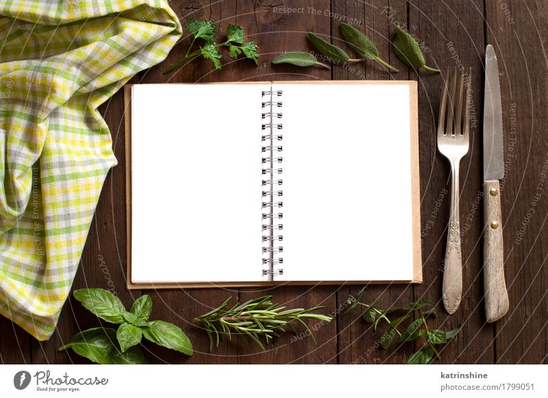 Blank cooking recipe book with fork, knife, herbs and napkin Green Yellow Brown Open Paper Herbs and spices Knives Consistency Rustic Fork Rosemary Basil